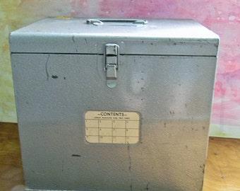 Vintage Metal Storage Box: Logan Magazine Slide Tray Chest with Drop Down Front Door