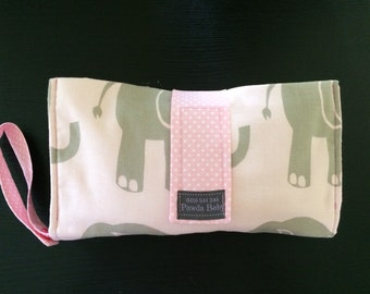 Nappy wallet cotton pink and grey elephants