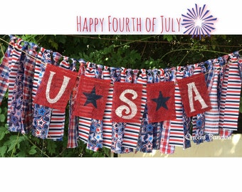 Fourth of July banner, Patriotic Banner, 4th of July banner, Patriotic Mantle, Banner, Holiday Banner, July 4th decor, Patriotic decor