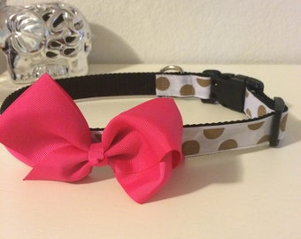 Gold polka dot with pink bow. Size L-XL. Last one!