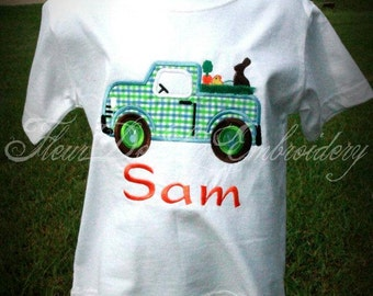 Easter Truck Applique Shirt, Bunny Truck Applique Shirt