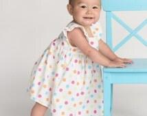 Baby Flutter Sleeve Dress, Baby Polka Dot Dress, Baby Panties,  3-6 Mo, 6-12 Mo, 12-18 Mo, 2-3T