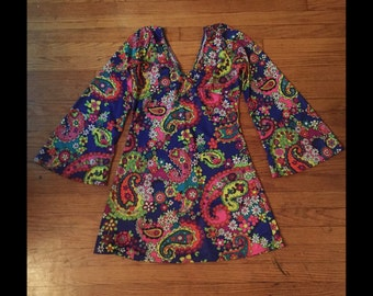 70s Flower Power Trippy Hippy Dress Costume