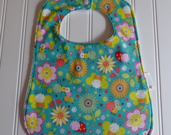 Baby Bugs Butterfly Ladybugs Bib Shower Gift, Feeding Cover, Cute Bugs and Flowers Baby Bib, Toddler Bib