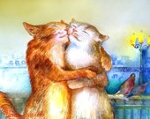Cats hugging, cattish tenderness, Giclee 8x10in, А4, Watercolor PRINT,  Art Print