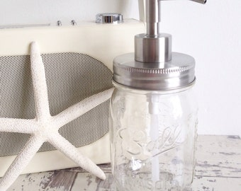 Ball mason jar soap dispenser with silver metal lid