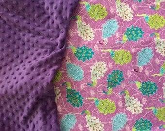 Personalized Purple Peacock Blanket
