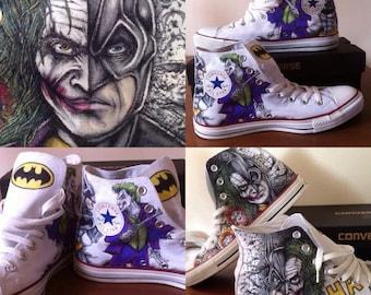 Batman/ joker hand drawn shoes Child