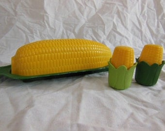 New Vintage Corn Butter Dish and  Salt & Pepper Shakers