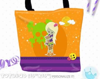 SALE zombie halloween Personalized Tote Bags, custom Tote bag, kids tote, school tote, kindergarten tote, beach tote bag, Tote Bags TB140