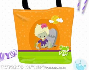 SALE zombie halloween Personalized Tote Bags, custom Tote bag, kids tote, school tote, kindergarten tote, beach tote bag, Tote Bags TB139