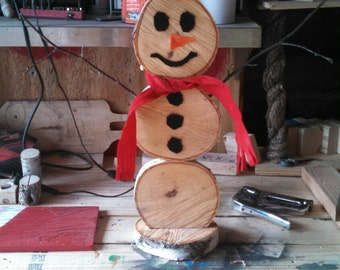 Wood/log snowman(indoor/outdoor with stand or stake
