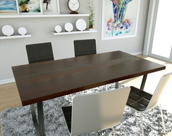 Solid hardwood texturized dining table