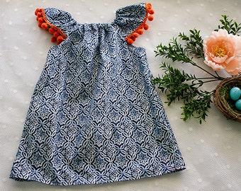 NEW! Lulu Bunny Julia flutter dress in indigo tribal