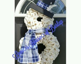 Christmas wreath, Snowman wreath, Snowman, Christmas decor, Christmas, Burlap Christmas wreath, Snowman decor, Front door wreath