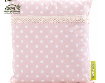 my-teepee soft cushion, rose with white points, cover 100% cotton Oekotex 100, size ca. 40 x 40 cm, made in Germany