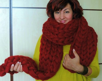 Knitted Scarf, Chunky Knit Scarf, Oversized Scarf, Super Chunky Scarf, Hand Knit Scarf, Wool Scarf, Merino Scarf, Wool Scarf