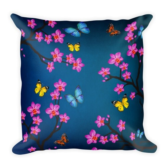 Country Blue Throw Pillows : Items similar to Decorative Pillow, Orchid, Pillow, Blue, Throw Pillow, Cushion, Butterfly, Home ...