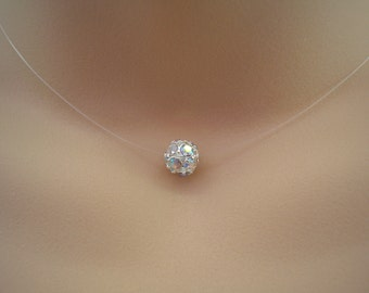 Gabriella ~ Simple Illusion Necklace, AB Floating Crystal Pave Diamante Ball Illusion Necklace