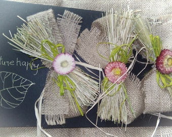 Natural gift bow, set of 3 gift wraps, burlap gift bow