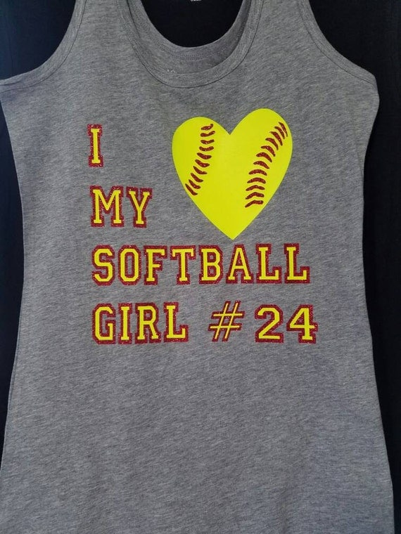 Jkdezigns I Love My Softball Girl Bling Shirt Softball Mom T