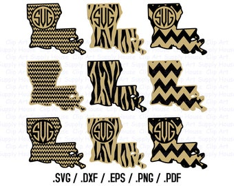 Louisiana, State Outline, State Decor, Saints, SVG Files, DXF Files, Vector Art, Cricut Design Space, Silhouette Digital Cut Files - CA204