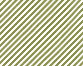 Moda Fabrics - Little Miss Sunshine Leaf Green and White Diagonal Stripe
