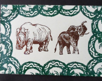 Elephant and Rhinocerous Ebossed Linolem Print- 1995   002RS