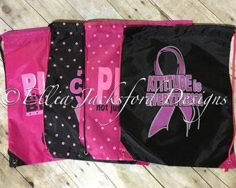 Breast cancer awareness backpacks.