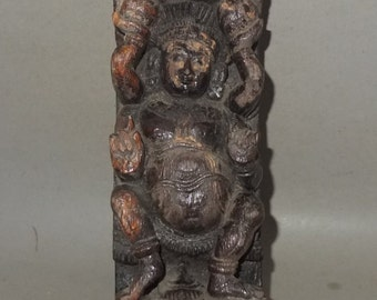 Antique Hardwood Hindu Guardian Deity Sculpture from Nepal, Architectural Part of Temple Decoration, FREE SHIPPING