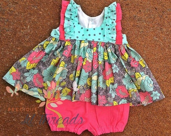 Floral Butterfly Flutter Sleeve Tunic Top- Spring Floral Dress- Toddler Girls- Girls- Spring Dress- 3-6m, 9m, 12m, 18m, 2t, 3t, 4t, 5t, 6, 8