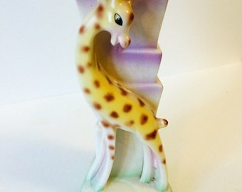 Vintage German Giraffe Ceramic Vase