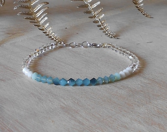 Multicolor Delicate Bracelet Crystals Fall Bracelet Bridesmaid Bracelet, delicate romantic bracelet blue crystal bracelet, Aqua Bracelet