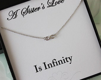 Sister Necklace, Sister Jewelry Infinity Necklace, Silver Eternity Necklace for Sister