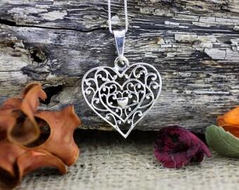 Silver Filigree Heart Necklace, Double Heart Filigree Necklace, Sterling Silver Oxidized Heart Pendant, Sterling Silver Love Necklace