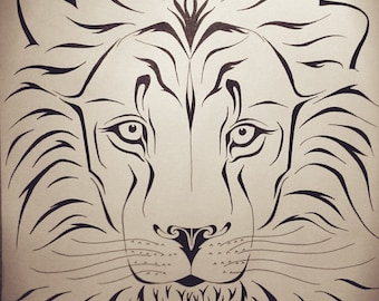Hand-painted Lion Illustration