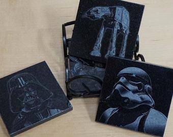 Engraved Star Wars Coaster Set ~ Engraved Granite Coasters ~ Stormtrooper, Boba Fett, AT-AT, Darth Vader
