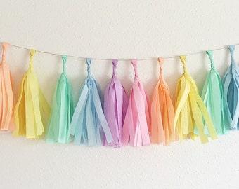 Pastel Rainbow Tassel Garland Unicorn Party Pastel Tassels Rainbow Party Pastel Nursery My Little Pony Party Pastel Shower Decor Tissue