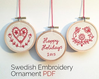 PDF • Traditional Swedish Folk Art Embroidery Ornament PDF Pattern • Fair Trade
