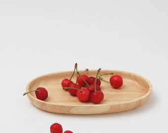 Wooden Snack Plate 20.5CM,Wood Plate, Wooden Dish, Rubber wood Plate,Home Decor,Kitchen table Decor