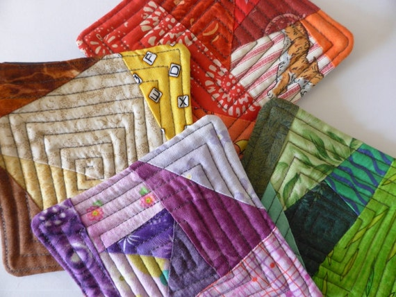 Fabric coasters, quilted  coasters, set of 4 coasters, hand made coasters, colorful coasters