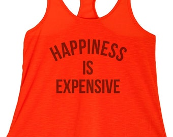 Women's PLUS Happiness is Expensive Graphic Print Polyester Tank Tops - 1XL ~ 3XL  (pl-075-tp)