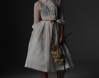 1950s vintage sheer organza full skirt dress