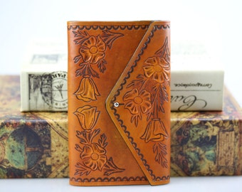 Tooled  Leather Journal Cover + 1 Replaceable Notebook
