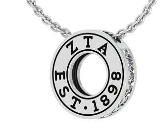 Zeta Tau Alpha Lavalier, Eternity Love Design, Sterling Silver (ZTA-P007)