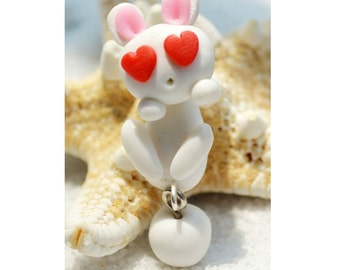 Polymer Clay Air Dry Clay White Bunny Rabbit Earring Charm Dangle Studs