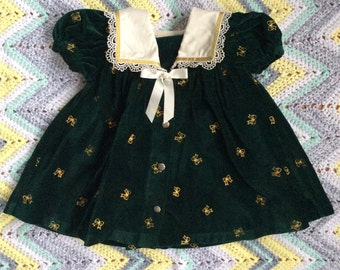 Green Velvet Holiday Dress 18 Months