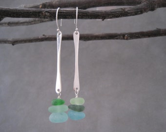 Sea Glass Earrings -Stick Earrings - Beach Glass - Contemporary - Seaglass Dangles Earrings - Hammered Sterling - Wire Wrapped