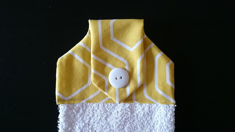 Yellow White hanging hand towel kitchen towel decorative