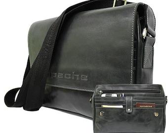 Black messenger bag, Men's messenger bag, Men's shoulder bag, Men's foggy black bag, Men apache bag